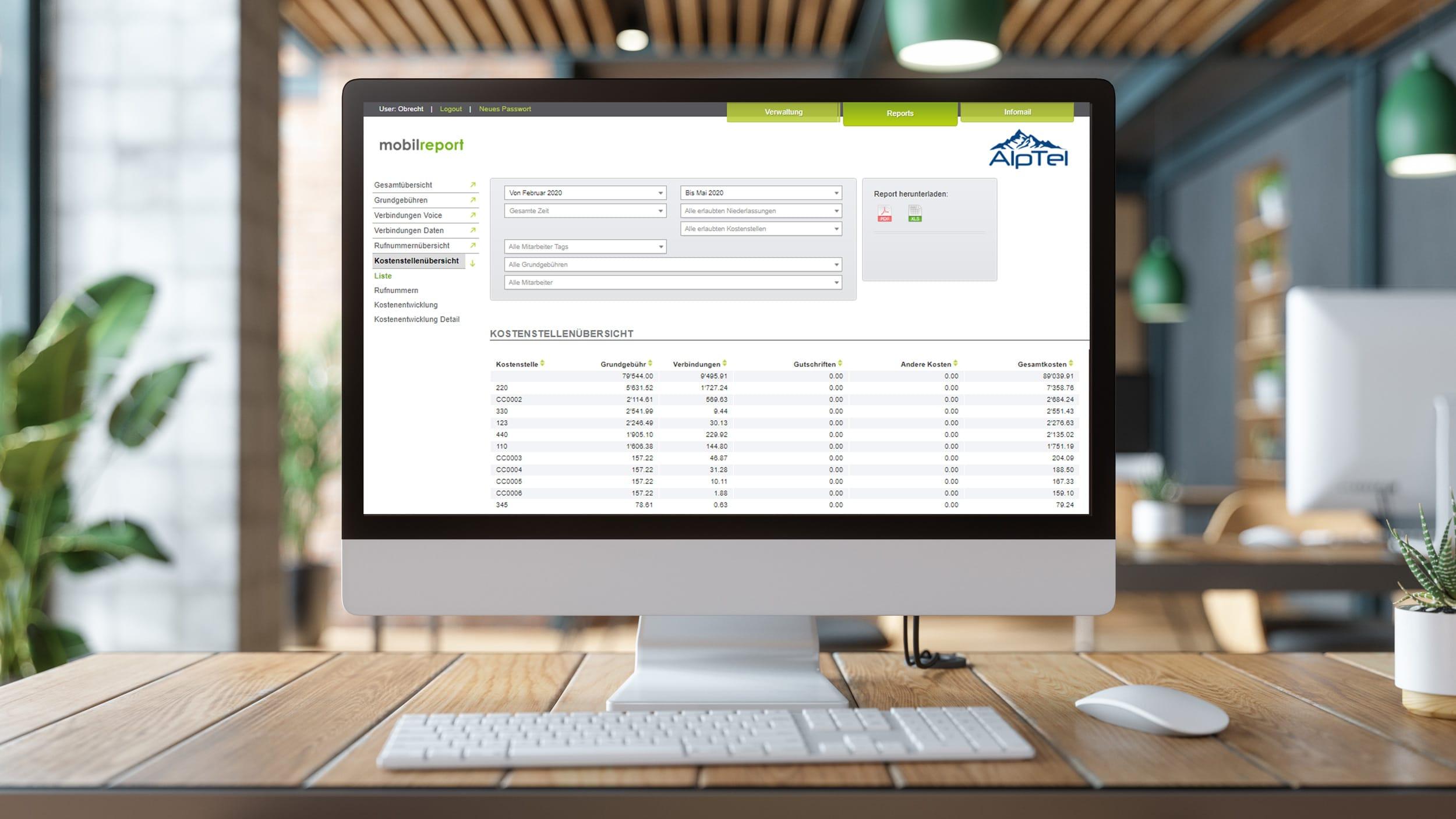 Tool mobilreport by Alptel für Analyse von Kosten und Nutzung aller Mobile Abos im Unternehmen